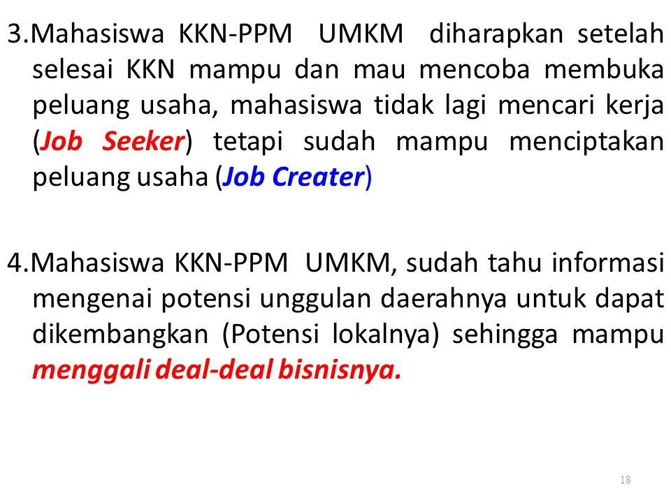 3.Mahasiswa KKN-PPM UMKM diharapkan setelah selesai KKN mampu dan mau mencoba membuka peluang usaha, mahasiswa tidak lagi mencari kerja (Job Seeker) t
