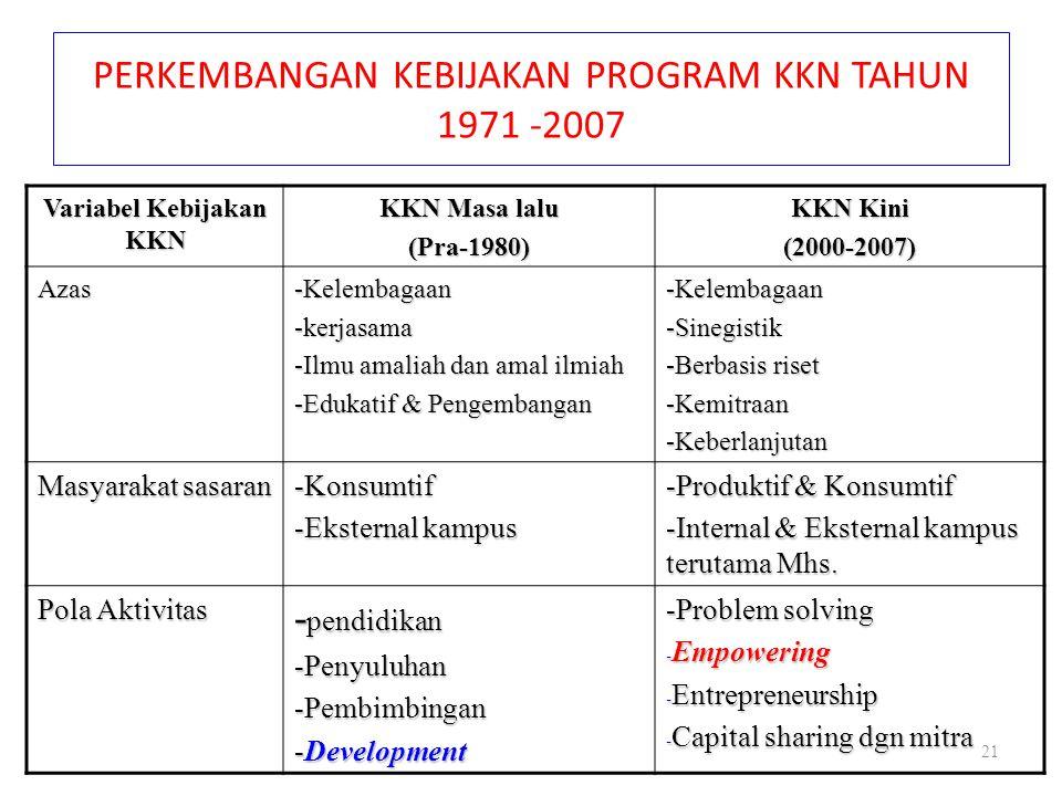 PERKEMBANGAN KEBIJAKAN PROGRAM KKN TAHUN 1971 -2007 Variabel Kebijakan KKN KKN Masa lalu (Pra-1980) KKN Kini (2000-2007) Azas-Kelembagaan-kerjasama -I
