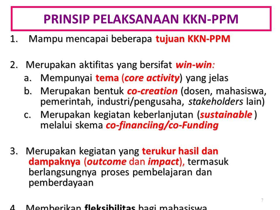 PRINSIP PELAKSANAAN KKN-PPM 1.Mampu mencapai beberapa tujuan KKN-PPM 2. Merupakan aktifitas yang bersifat win-win: a.Mempunyai tema (core activity) ya