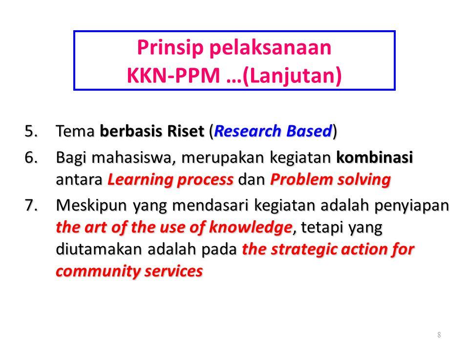 Prinsip pelaksanaan KKN-PPM …(Lanjutan) 5.Tema berbasis Riset (Research Based) 6.Bagi mahasiswa, merupakan kegiatan kombinasi antara Learning process