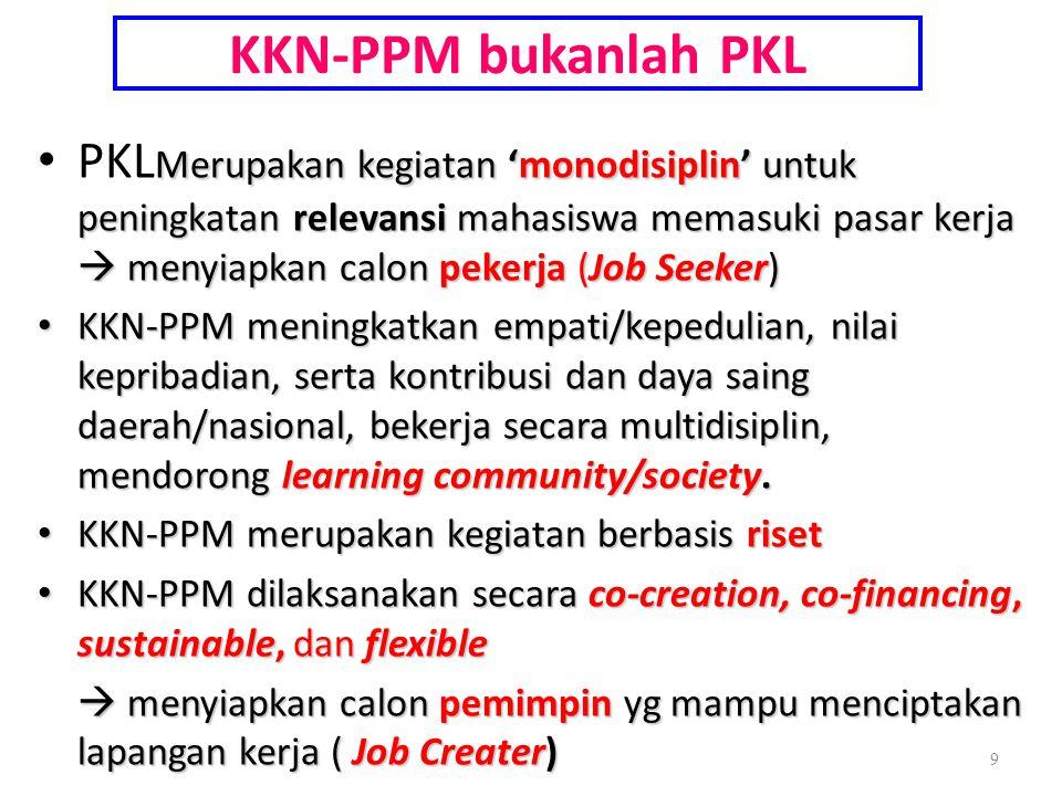 KKN-PPM bukanlah PKL Merupakan kegiatan 'monodisiplin' untuk peningkatan relevansi mahasiswa memasuki pasar kerja  menyiapkan calon pekerja (Job Seek