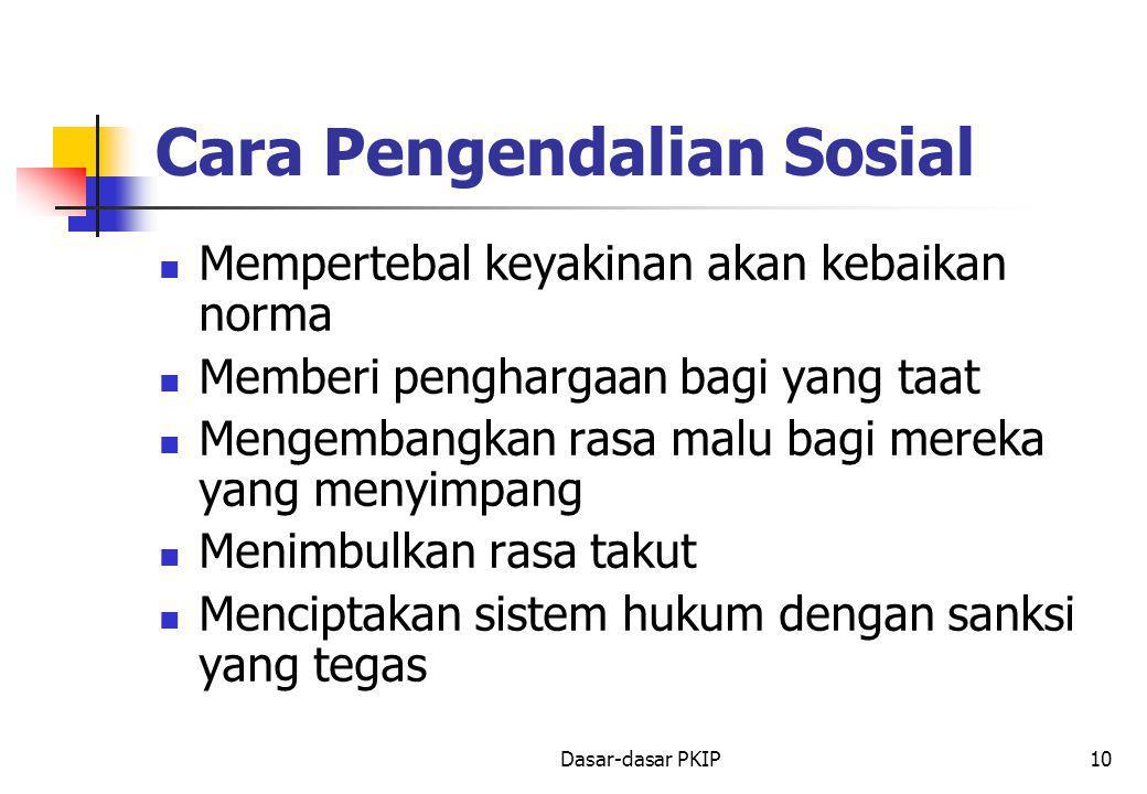 Dasar-dasar PKIP10 Cara Pengendalian Sosial Mempertebal keyakinan akan kebaikan norma Memberi penghargaan bagi yang taat Mengembangkan rasa malu bagi