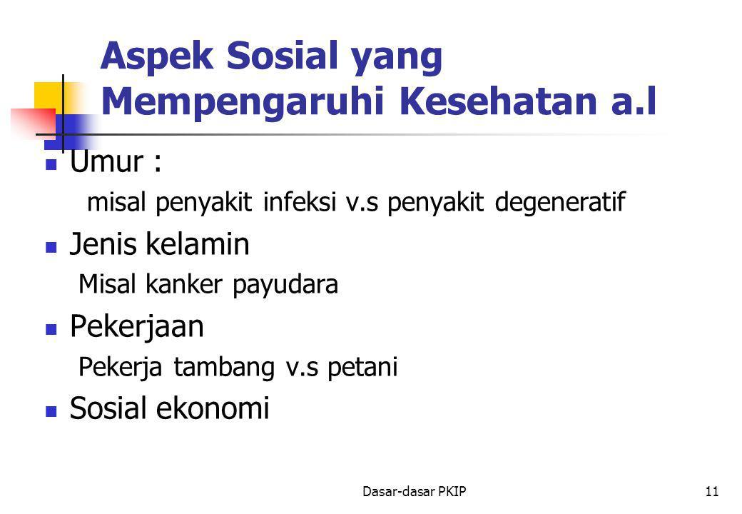 Dasar-dasar PKIP11 Aspek Sosial yang Mempengaruhi Kesehatan a.l Umur : misal penyakit infeksi v.s penyakit degeneratif Jenis kelamin Misal kanker payudara Pekerjaan Pekerja tambang v.s petani Sosial ekonomi