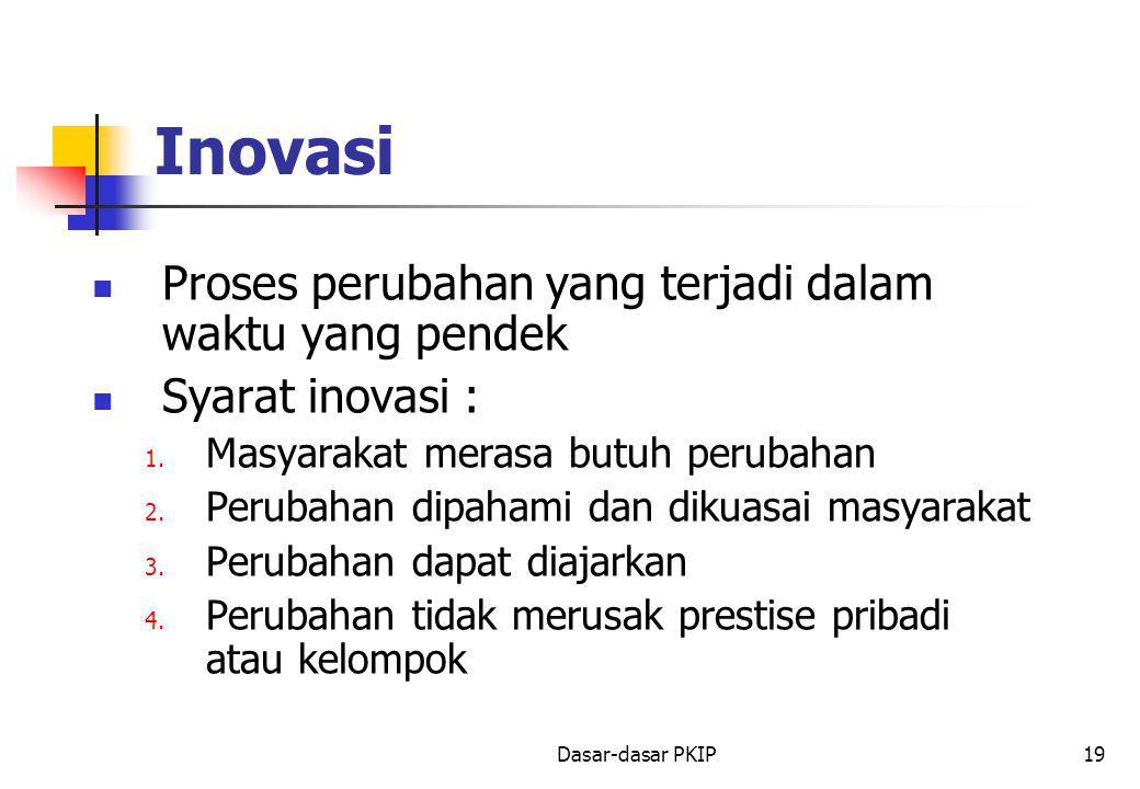 Dasar-dasar PKIP19 Inovasi Proses perubahan yang terjadi dalam waktu yang pendek Syarat inovasi : 1. Masyarakat merasa butuh perubahan 2. Perubahan di