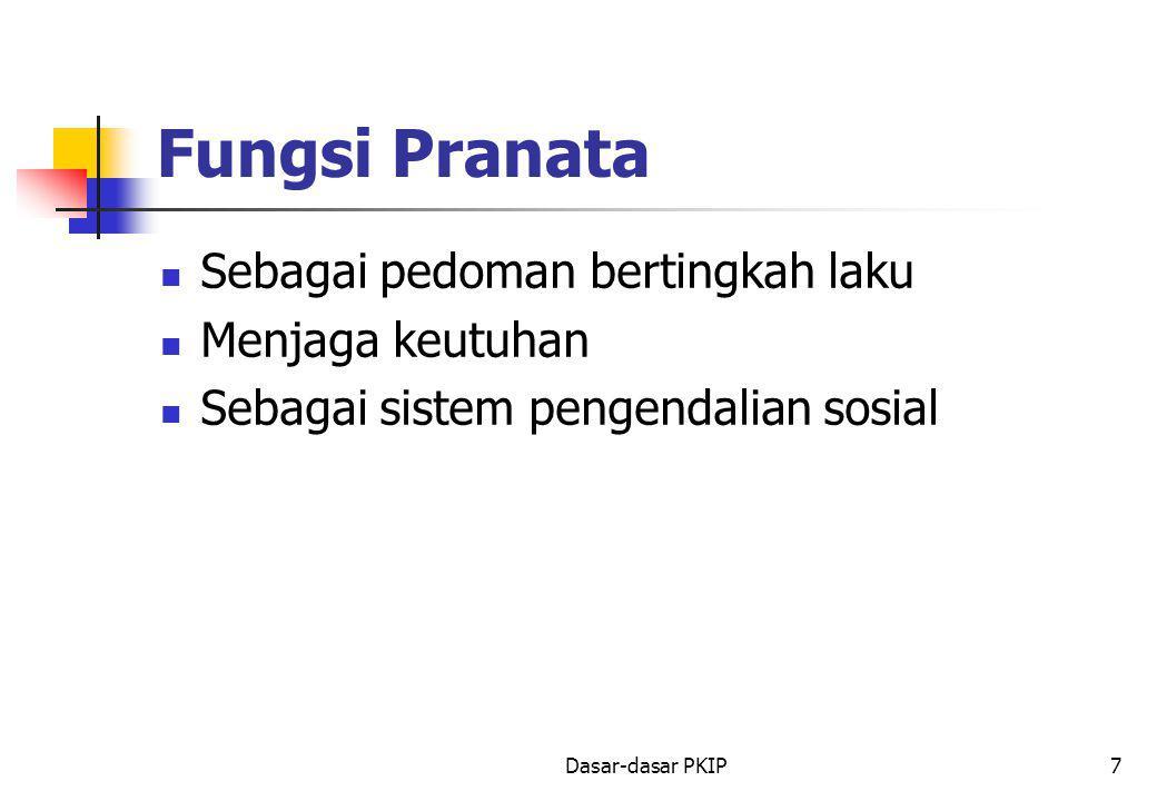 Dasar-dasar PKIP7 Fungsi Pranata Sebagai pedoman bertingkah laku Menjaga keutuhan Sebagai sistem pengendalian sosial