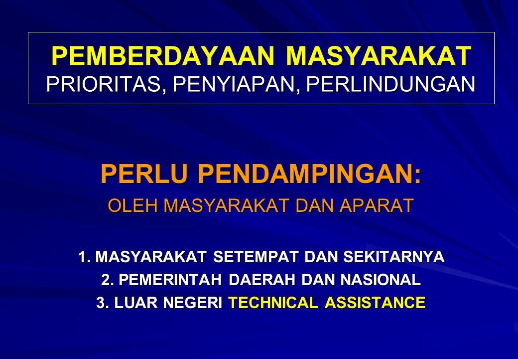PEMBERDAYAAN MASYARAKAT PRIORITAS, PENYIAPAN, PERLINDUNGAN PERLU PENDAMPINGAN: OLEH MASYARAKAT DAN APARAT 1.