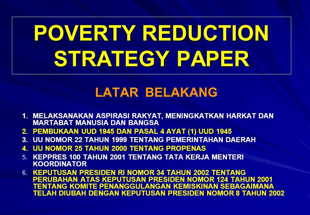 POVERTY REDUCTION STRATEGY PAPER LATAR BELAKANG 1.MELAKSANAKAN ASPIRASI RAKYAT, MENINGKATKAN HARKAT DAN MARTABAT MANUSIA DAN BANGSA 2.
