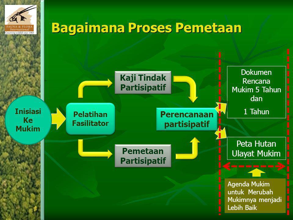 Bagaimana Proses Pemetaan Kaji Tindak Partisipatif Dokumen Rencana Mukim 5 Tahun dan 1 Tahun Perencanaan partisipatif Pemetaan Partisipatif Peta Hutan