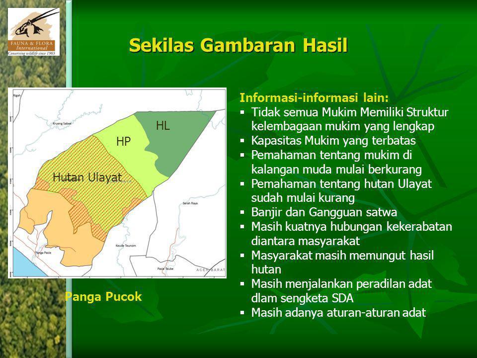 Sekilas Gambaran Hasil HL HP Hutan Ulayat Panga Pucok Informasi-informasi lain:  Tidak semua Mukim Memiliki Struktur kelembagaan mukim yang lengkap 