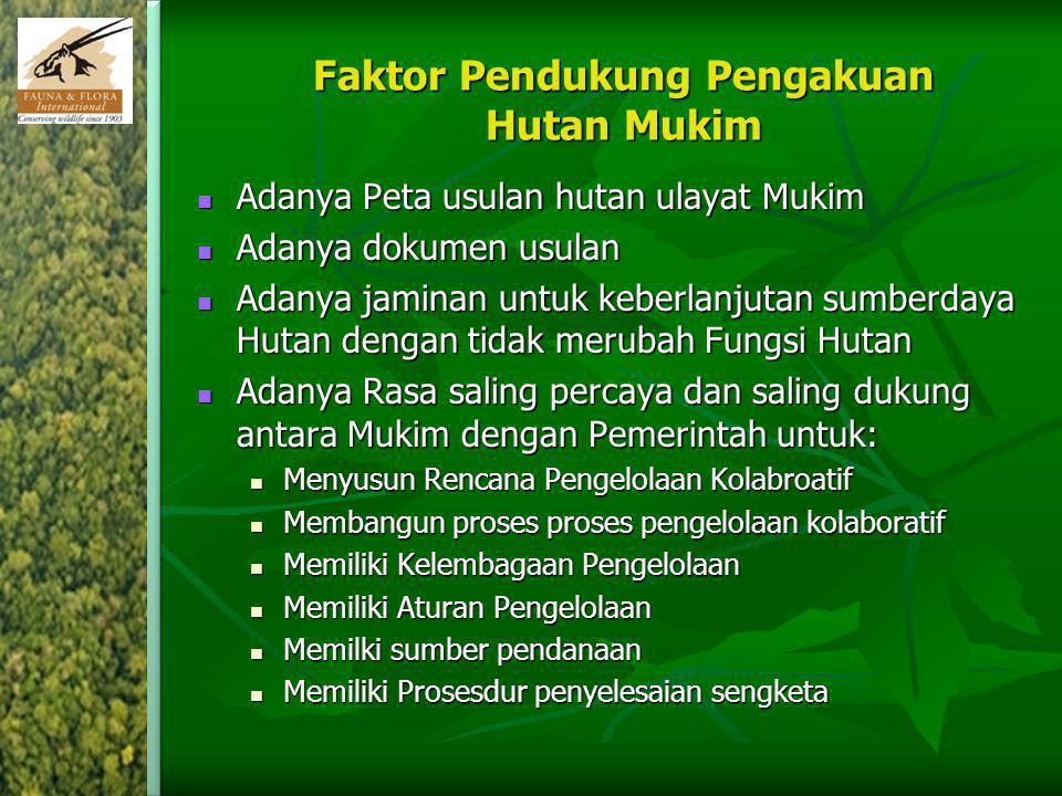 Faktor Pendukung Pengakuan Hutan Mukim Adanya Peta usulan hutan ulayat Mukim Adanya Peta usulan hutan ulayat Mukim Adanya dokumen usulan Adanya dokume