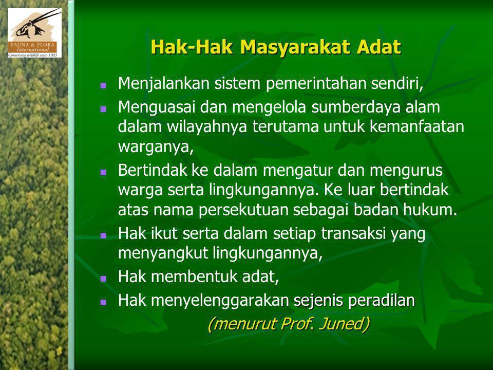 Hak-Hak Masyarakat Adat Menjalankan sistem pemerintahan sendiri, Menguasai dan mengelola sumberdaya alam dalam wilayahnya terutama untuk kemanfaatan w