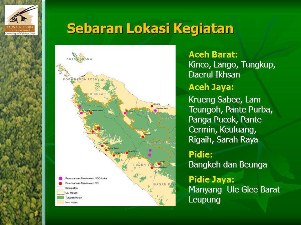 Sebaran Lokasi Kegiatan Aceh Barat: Kinco, Lango, Tungkup, Daerul Ikhsan Aceh Jaya: Krueng Sabee, Lam Teungoh, Pante Purba, Panga Pucok, Pante Cermin,