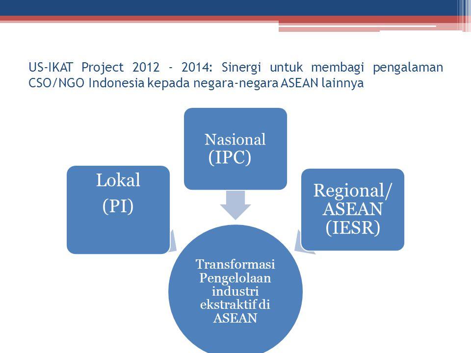 US-IKAT Project 2012 - 2014: Sinergi untuk membagi pengalaman CSO/NGO Indonesia kepada negara-negara ASEAN lainnya Transformasi Pengelolaan industri e