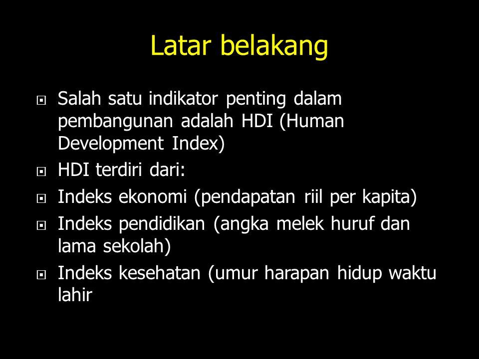 Latar belakang  Salah satu indikator penting dalam pembangunan adalah HDI (Human Development Index)  HDI terdiri dari:  Indeks ekonomi (pendapatan