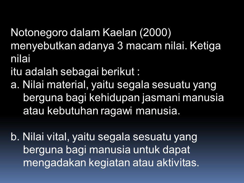 Notonegoro dalam Kaelan (2000) menyebutkan adanya 3 macam nilai.