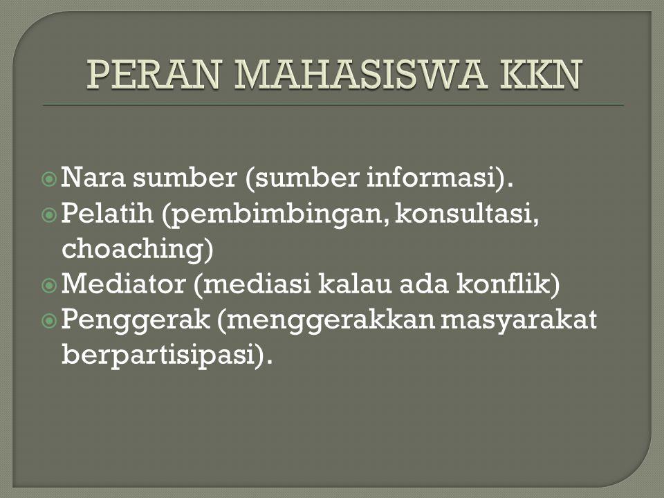  Nara sumber (sumber informasi).  Pelatih (pembimbingan, konsultasi, choaching)  Mediator (mediasi kalau ada konflik)  Penggerak (menggerakkan mas