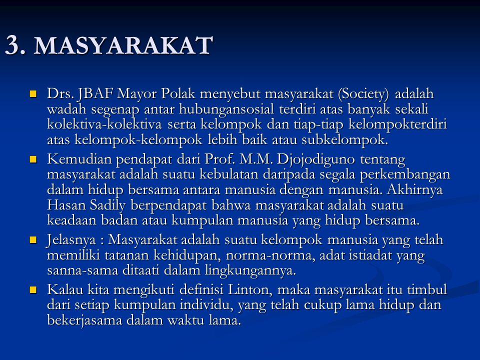 3. MASYARAKAT Drs. JBAF Mayor Polak menyebut masyarakat (Society) adalah wadah segenap antar hubungansosial terdiri atas banyak sekali kolektiva-kolek