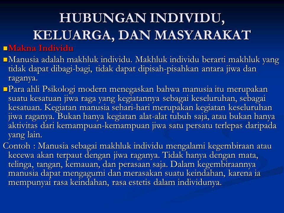 HUBUNGAN INDIVIDU, KELUARGA, DAN MASYARAKAT Makna Individu Makna Individu Manusia adalah makhluk individu. Makhluk individu berarti makhluk yang tidak