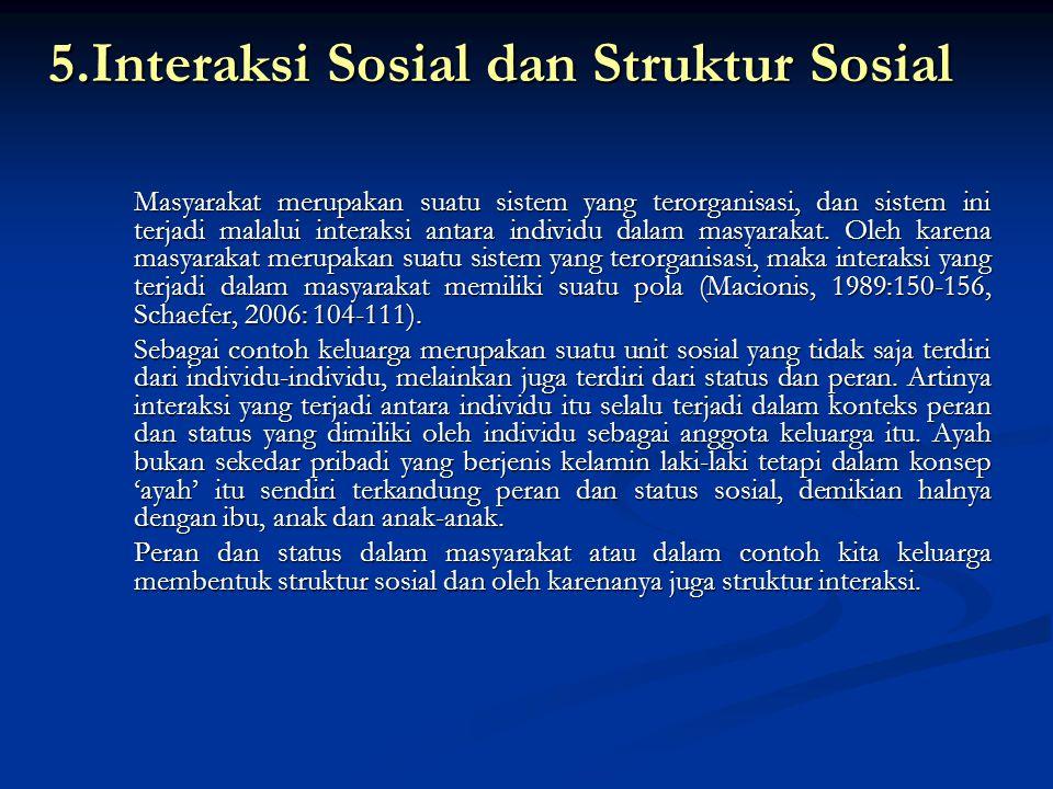 5.Interaksi Sosial dan Struktur Sosial Masyarakat merupakan suatu sistem yang terorganisasi, dan sistem ini terjadi malalui interaksi antara individu