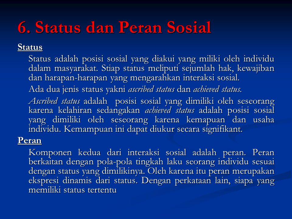 6. Status dan Peran Sosial Status Status adalah posisi sosial yang diakui yang miliki oleh individu dalam masyarakat. Stiap status meliputi sejumlah h