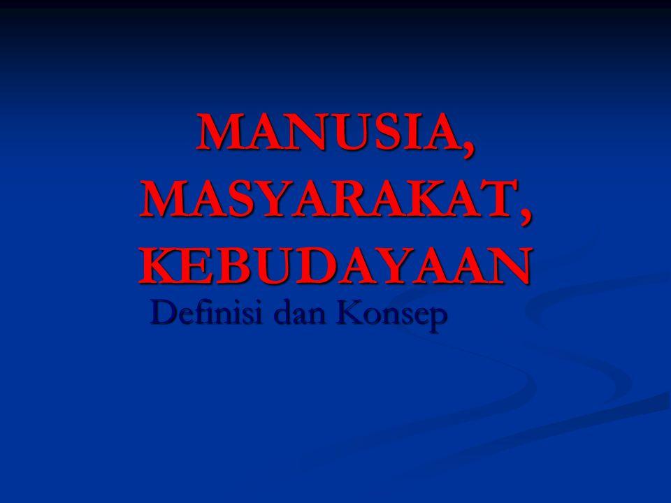 MANUSIA, MASYARAKAT, KEBUDAYAAN Definisi dan Konsep