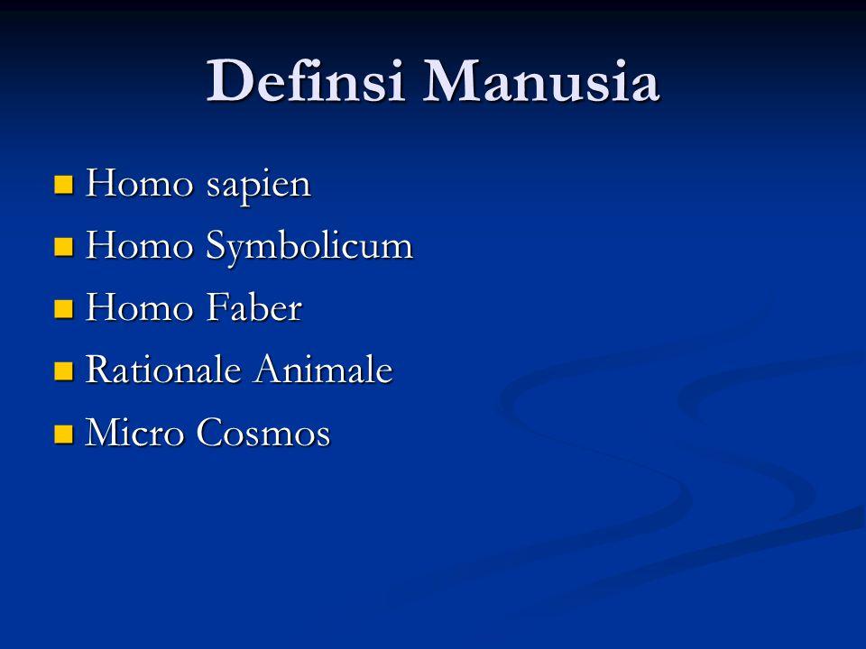 Definsi Manusia Homo sapien Homo sapien Homo Symbolicum Homo Symbolicum Homo Faber Homo Faber Rationale Animale Rationale Animale Micro Cosmos Micro C