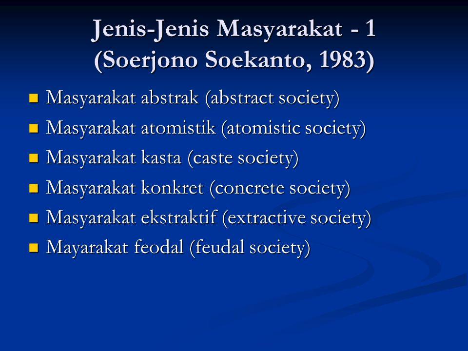 Jenis-Jenis Masyarakat - 1 (Soerjono Soekanto, 1983) Masyarakat abstrak (abstract society) Masyarakat abstrak (abstract society) Masyarakat atomistik
