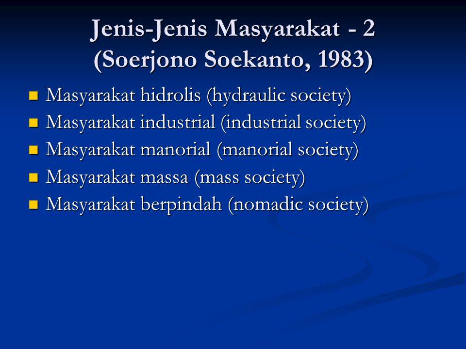 Jenis-Jenis Masyarakat - 2 (Soerjono Soekanto, 1983) Masyarakat hidrolis (hydraulic society) Masyarakat hidrolis (hydraulic society) Masyarakat indust