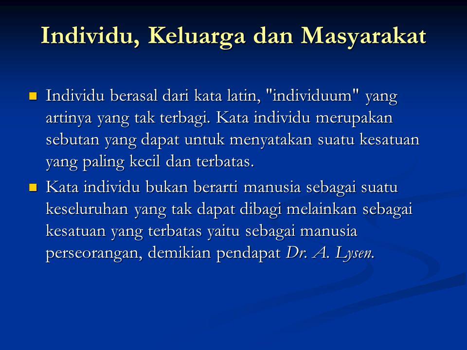 Individu, Keluarga dan Masyarakat Individu berasal dari kata latin,