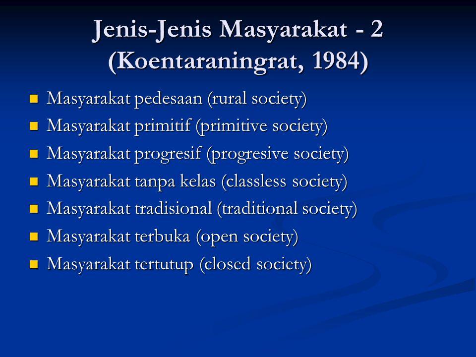Jenis-Jenis Masyarakat - 2 (Koentaraningrat, 1984) Masyarakat pedesaan (rural society) Masyarakat pedesaan (rural society) Masyarakat primitif (primit