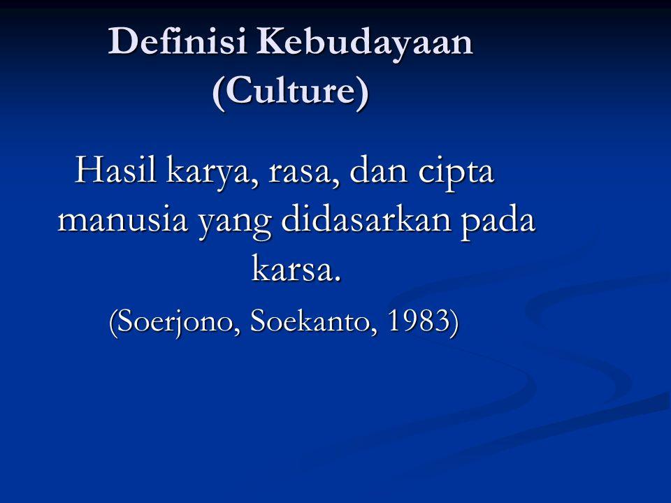 Definisi Kebudayaan (Culture) Hasil karya, rasa, dan cipta manusia yang didasarkan pada karsa. (Soerjono, Soekanto, 1983)