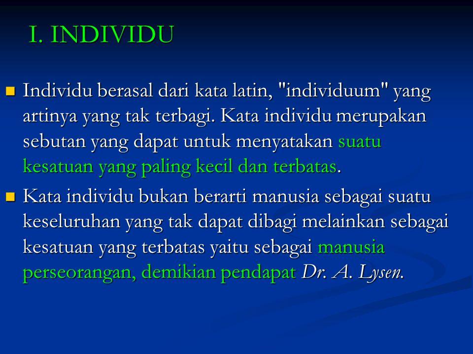 I. INDIVIDU Individu berasal dari kata latin,