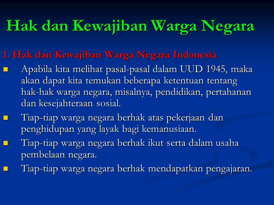 Hak dan Kewajiban Warga Negara 1. Hak dan Kewajiban Warga Negara Indonesia Apabila kita melihat pasal-pasal dalam UUD 1945, maka akan dapat kita temuk