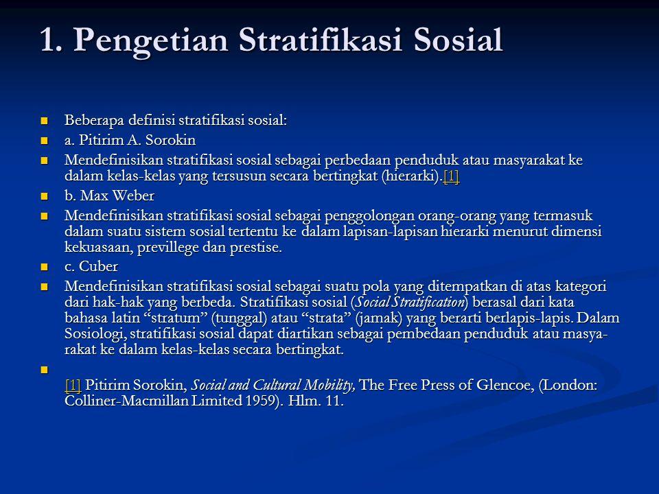 1. Pengetian Stratifikasi Sosial Beberapa definisi stratifikasi sosial: Beberapa definisi stratifikasi sosial: a. Pitirim A. Sorokin a. Pitirim A. Sor