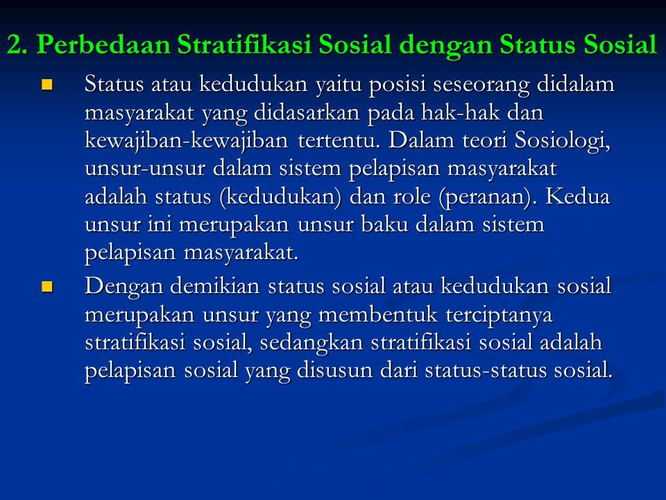 2. Perbedaan Stratifikasi Sosial dengan Status Sosial Status atau kedudukan yaitu posisi seseorang didalam masyarakat yang didasarkan pada hak-hak dan