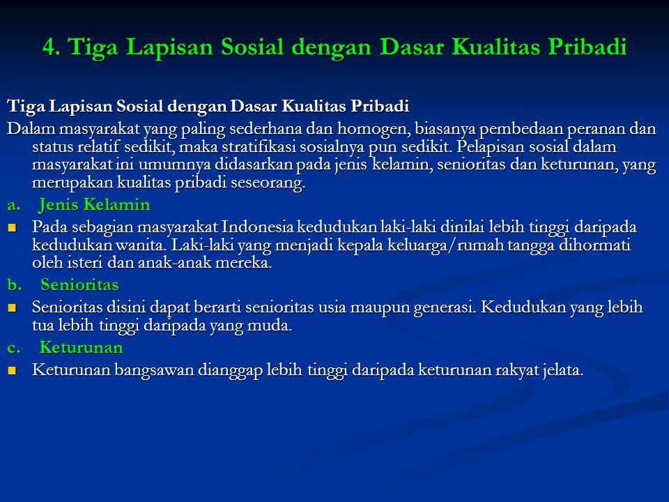 4. Tiga Lapisan Sosial dengan Dasar Kualitas Pribadi Tiga Lapisan Sosial dengan Dasar Kualitas Pribadi Dalam masyarakat yang paling sederhana dan homo