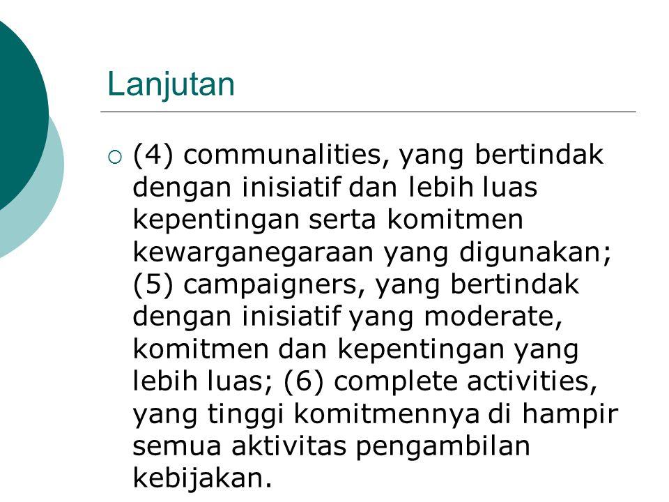 Lanjutan  (4) communalities, yang bertindak dengan inisiatif dan lebih luas kepentingan serta komitmen kewarganegaraan yang digunakan; (5) campaigner