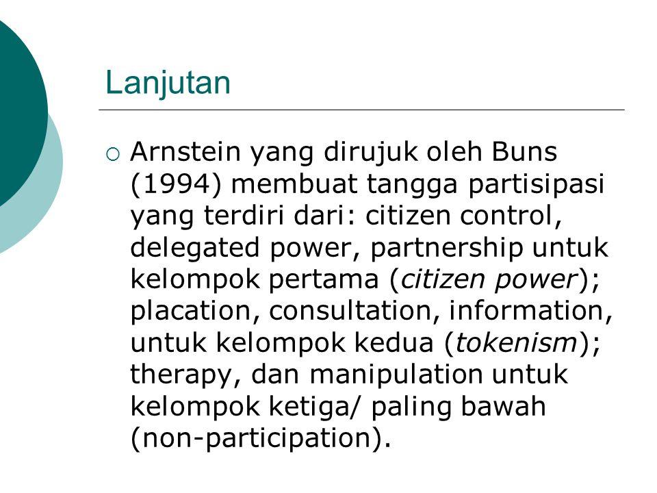 Lanjutan  Arnstein yang dirujuk oleh Buns (1994) membuat tangga partisipasi yang terdiri dari: citizen control, delegated power, partnership untuk ke