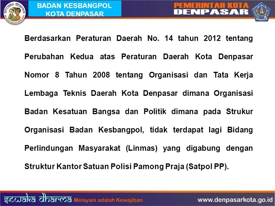Berdasarkan Peraturan Daerah No. 14 tahun 2012 tentang Perubahan Kedua atas Peraturan Daerah Kota Denpasar Nomor 8 Tahun 2008 tentang Organisasi dan T