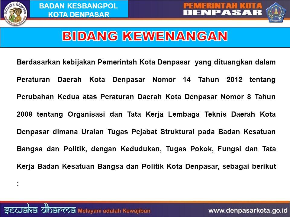 Berdasarkan kebijakan Pemerintah Kota Denpasar yang dituangkan dalam Peraturan Daerah Kota Denpasar Nomor 14 Tahun 2012 tentang Perubahan Kedua atas P