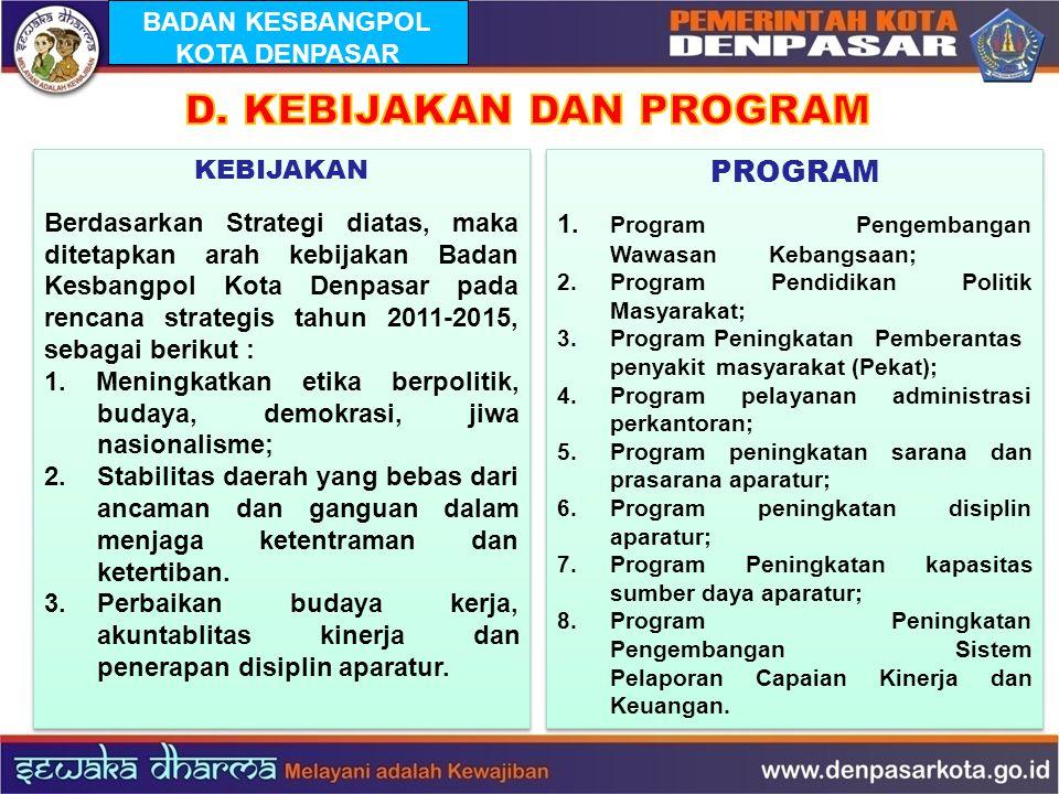KEBIJAKAN Berdasarkan Strategi diatas, maka ditetapkan arah kebijakan Badan Kesbangpol Kota Denpasar pada rencana strategis tahun 2011-2015, sebagai b