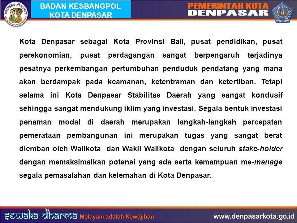 BADAN KESBANGPOL KOTA DENPASAR Kota Denpasar sebagai Kota Provinsi Bali, pusat pendidikan, pusat perekonomian, pusat perdagangan sangat berpengaruh te