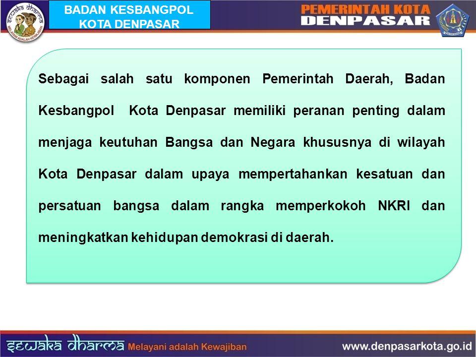 BADAN KESBANGPOL KOTA DENPASAR Sebagai salah satu komponen Pemerintah Daerah, Badan Kesbangpol Kota Denpasar memiliki peranan penting dalam menjaga ke