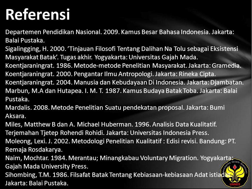Referensi Departemen Pendidikan Nasional. 2009. Kamus Besar Bahasa Indonesia. Jakarta: Balai Pustaka. Sigalingging, H. 2000. 'Tinjauan Filosofi Tentan