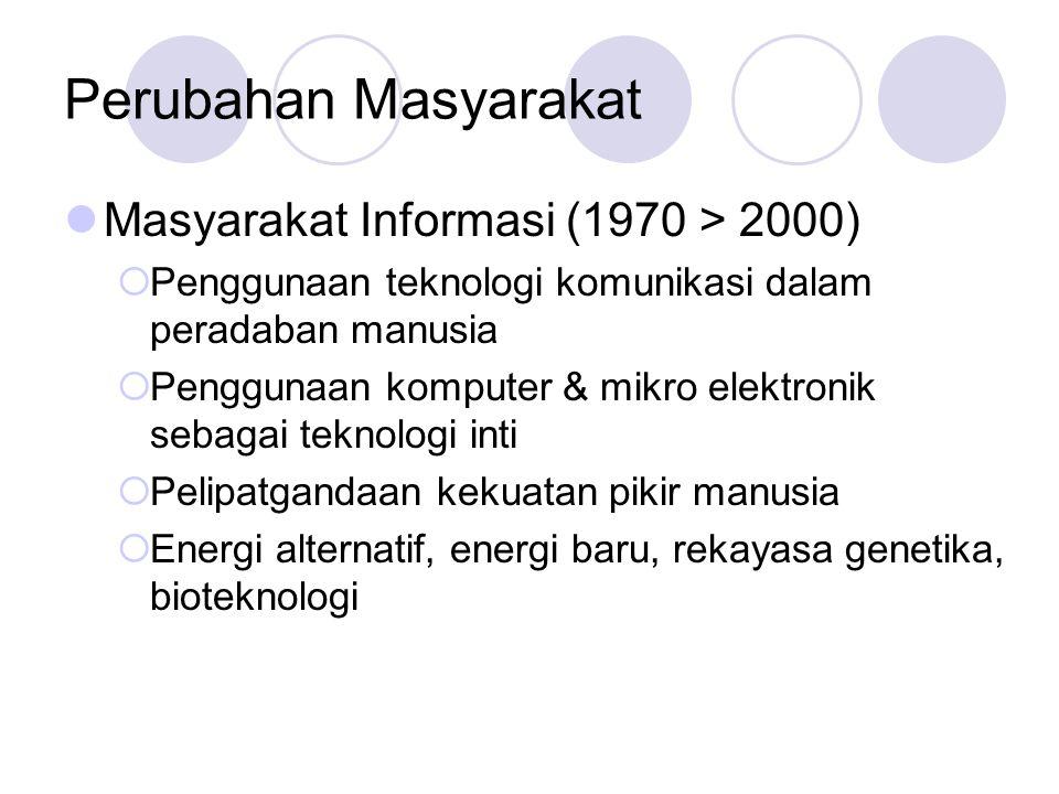 Perubahan Masyarakat Masyarakat Informasi (1970 > 2000)  Penggunaan teknologi komunikasi dalam peradaban manusia  Penggunaan komputer & mikro elektr
