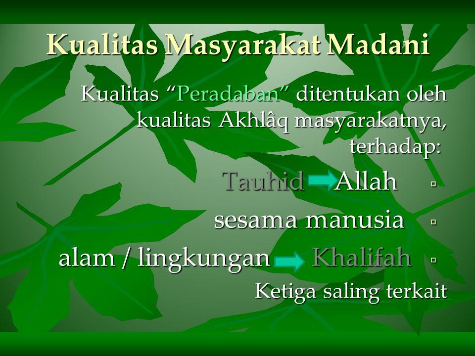 Visi & Misi Hijrah  Nabi mengganti nama Yatsrib jadi Madinah sebagai isyarat bahwa nabi akan membangun sebuah masyarakat yang beradab, atau masyarakat madani (civil society)  Fokus utama (misi) Rasulullah membangun masyarakat madani adalah pembinaan insan berakhlaqul karimah
