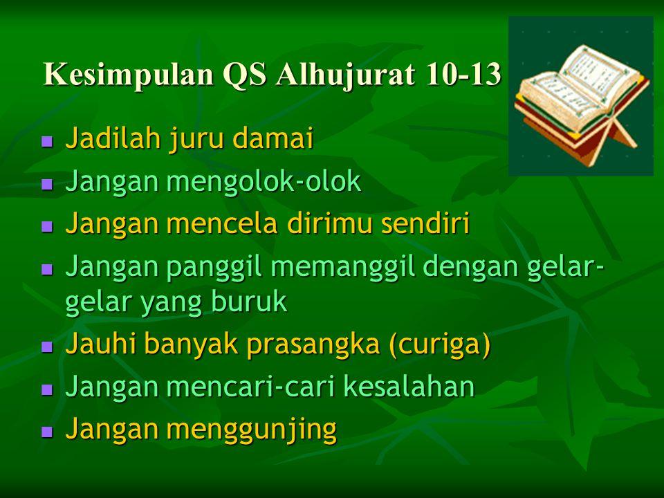  QS AlHujurat/49:10-12  يَا أَيُّهَا الَّذِينَ آمَنُوا اجْتَنِبُوا كَثِيراً مِّنَ الظَّنِّ إِنَّ بَعْضَ الظَّنِّ إِثْمٌ وَلَا تَجَسَّسُوا وَلَا يَغْ