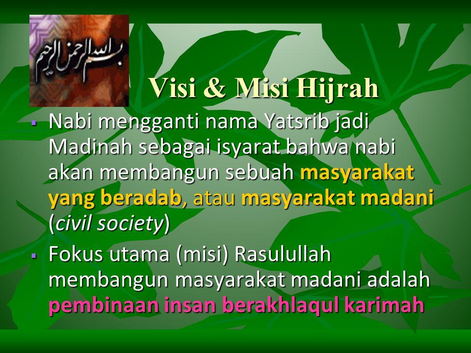 Tarbiyah Nabi melalui Hijrah  Nabi merubah: Yatsrib jadi almadînah / madînatu-alnabî  almadînah artinya: kota  madînatu-alnabî artinya : kota nabi  Dalam bhs 'Arab madînah berarti tempat peradaban  peradaban dalam bahasa arab disebut juga madaniyah atau tamaddun
