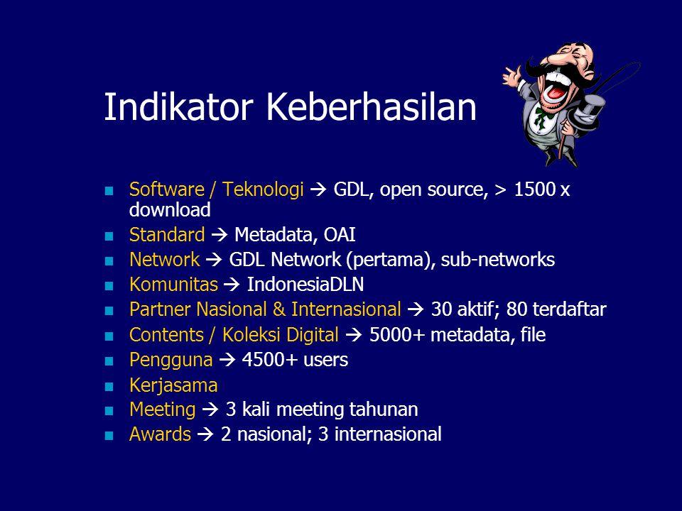 Pelaksanaan Akhir 1999: protipe software GDL 3.0 Agustus 2000: launching ITB Digital Library (GDL 3.0) + Pembentukan forum IndonesiaDLN S/d Juni 2001: pengembangan GDL 3.1 Juni 2001: launching GDL-Network (network pertama di IndonesiaDLN) Maret 2002: 3 rd meeting, inisialisasi pembentukan sub-sub network (kesehatan, pertanian, lingkungan, dll) Sekarang: realisasi network-of-networks, gabung ke Open Archive Initiative