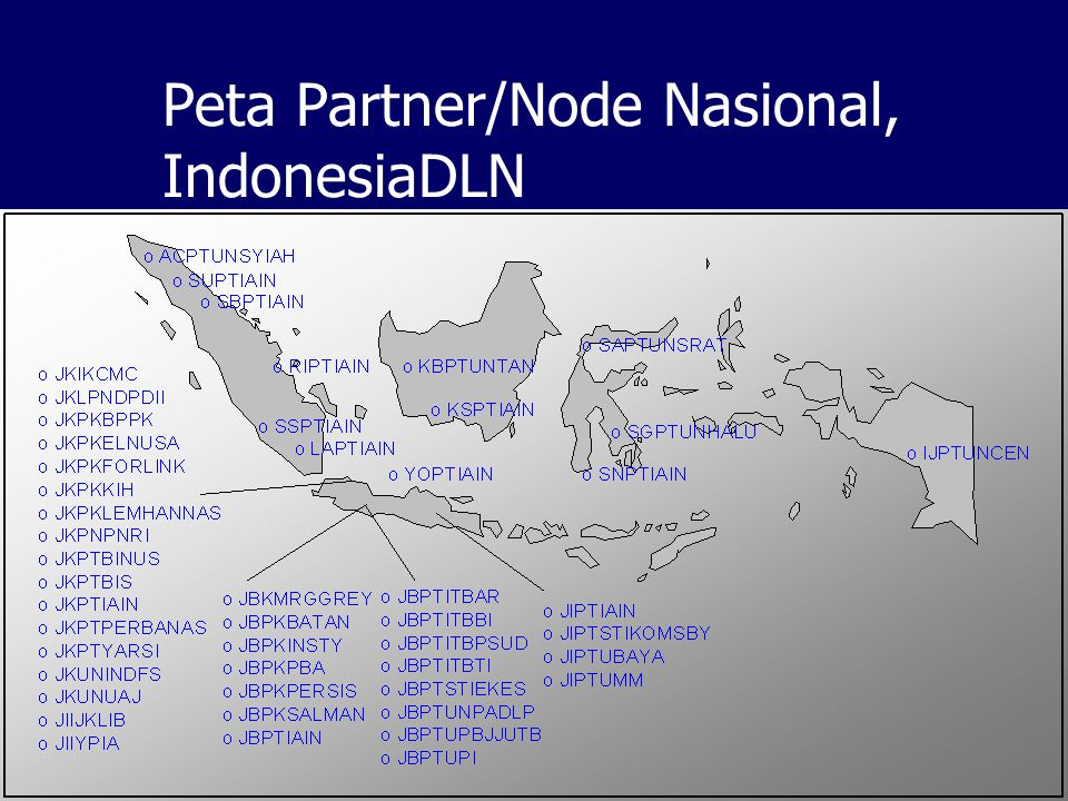 Indikator Keberhasilan Software / Teknologi  GDL, open source, > 1500 x download Standard  Metadata, OAI Network  GDL Network (pertama), sub-networks Komunitas  IndonesiaDLN Partner Nasional & Internasional  30 aktif; 80 terdaftar Contents / Koleksi Digital  5000+ metadata, file Pengguna  4500+ users Kerjasama Meeting  3 kali meeting tahunan Awards  2 nasional; 3 internasional